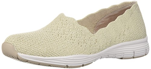 Skechers Women's Seager-STAT-Scalloped Collar, Engineered Skech-Knit Slip-On-Classic Fit Loafer, Natural, 6.5 M US