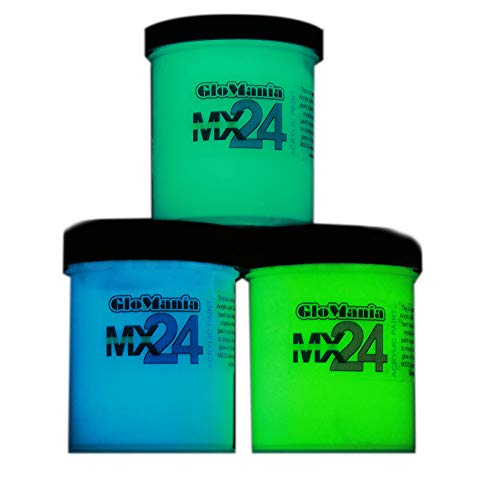 Green, Blue, Aqua MX24 Sampler Set Extreme Glow in The Dark Paint Daytime Invisible Range ()