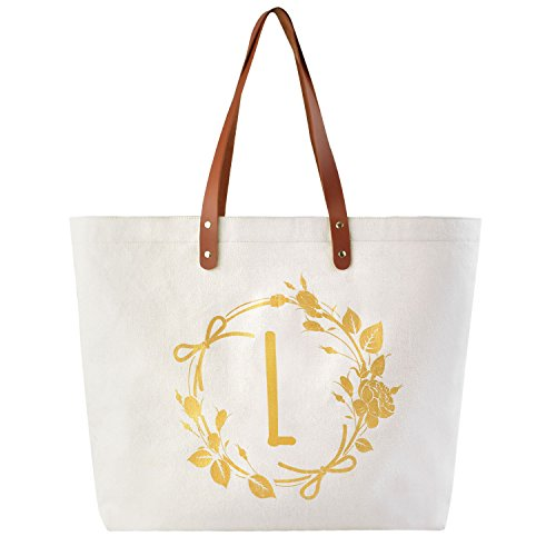 ElegantPark L Initial Personalized Gift Monogram Tote Bag with Interior Zip Pocket Canvas