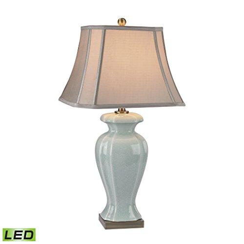 - Elk Lighting D2632-LED Celadon LED Table Lamp in Glazed Green Ceramic with Antique Brass Accents