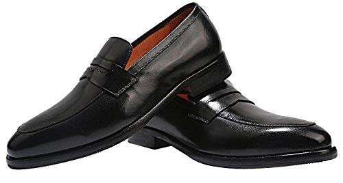 Elanroman Blake Italie À La Main Couture Classique Mode Luxe Hommes En Cuir Véritable Mocassins Chaussures Pour Noir Noir