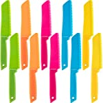 Jovitec 10 Pieces Plastic Nylon Knife Kitchen Set for Kid, Children Toddler Cooking Knives, Safe Knives for Bread without BPA, Lettuce Knife and Salad Knife 8 Enough quantity: package includes 10 pieces kids plastic safe knives; 5 Colors: blue, yellow, green, orange and rose red, 2 pieces for each color; The colorful kid's knives set can help you create delicious dishes Safety knife set: the plastic cutting knife is made of nylon material, with serrated edges, this little chef set will help safeguard little fingers from the dangers and risks of pointed metal knives Wide usage: the nylon cake knife can safely cut many types of fruit, lettuce, vegetables, bread, cheese, cake, carrots, zucchini, strawberries and more; Appropriate for young gastronomic apprentices aged 4 and up (not only for kids)