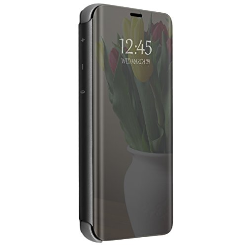 Price comparison product image Apple iPhone X 10 Mirror Case, Metal Electroplate Plating Clear View Flip Leather Holder Phone Cover with Kickstand Hard Protective Anti-Scratch Cover for Apple iPhone X 2017 (Black)