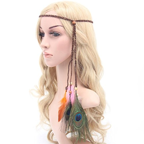 [Usstore 1PC Women Bohemia Peacock Feather Headwear Headband Accessories (Coffee)] (Girls 70s Costume)