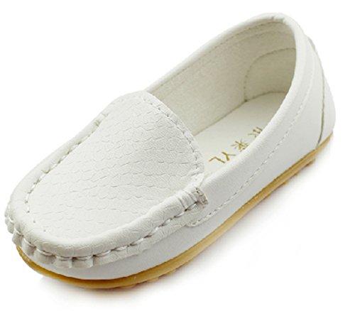 DADAWEN Unisex-Kinder Espadrilles Leder Schuhe Weiß