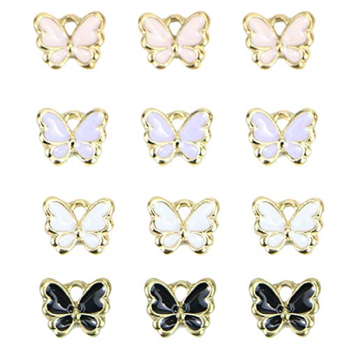(Monrocco 40 Pcs Enamel Butterfly Charms Bracelet Pendant Charms for Jewelry Making)