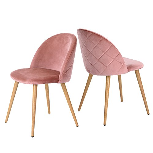 GreenForest Accent Chairs for Living Room, Modern Velvet Chairs Mid Century, Side Chairs Metal Legs with Wood Pattern, Mid-Back Support Pink Chairs, Set of 2 / Rose