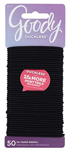 Goody Women's Ouchless Elastics, Black, 50 Count, 2MM for Finer Hair 2 Mm Hair Elastics
