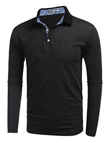 COOFANDY Mens Long Sleeve Polo Shirt Classic Causal Business Slim Fit Cotton T Shirts