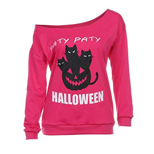 iYBUIA Women Halloween O Neck Print Long Sleeve Off Shoulder Shirt Hoodies Blouse(Pink ,S)