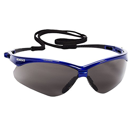 Jackson Safety V30 47387 Nemesis Safety Glasses (1 Pair) (Metallic Blue Frame with Smoke Anti-Fog (Integrated Single Channel)
