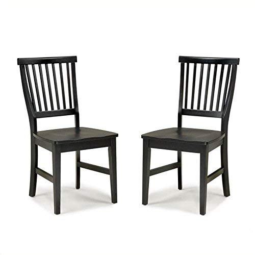 Home Styles Arts and Crafts Black Dining Chair Pair with Slatted Back, Carved Seat, and Stretchers on Each Side