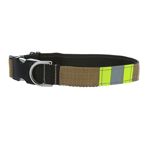"Fully Involved Stitching Firefighter Dog Collar made from Repurposed Turnout Bunker Gear Material (Large (17""-25""))"