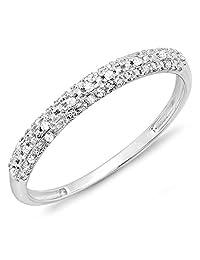 0.10 Carat (ctw) 10k Gold Round Diamond Ladies Anniversary Wedding Band Stackable Ring 1/10 CT