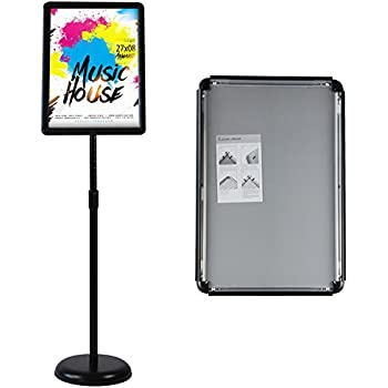 HUAZI pedestal poster stand vertical and horizontal poster displayed snap-open frame with safety corner for 11x17 inches graphic sign stand black color store sign holders