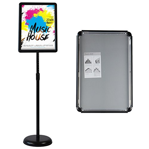 HUAZI Sign Stand Up Signs Poster Stand for display Snap-open Frame with Safety Corner for 11x17 inches,Black (Base Holder Flat Sign)