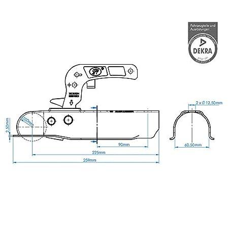 60 mm - Rund DKB Anh/änger Zugmaul Kupplungsklaue Zugvorrichtung Dekra 750 kg