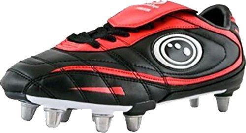 Neu Hochwertig Inferno II Fuß-Verschleiß Rugby Stiefel In Schwarz & Rotes Farbe Schuhe