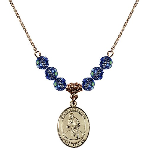 18-Inch Hamilton Gold Plated Necklace w/ 6mm Light Blue September Birth Month Stone Beads and Saint Sebastian/Wrestling Charm by Bonyak Jewelry