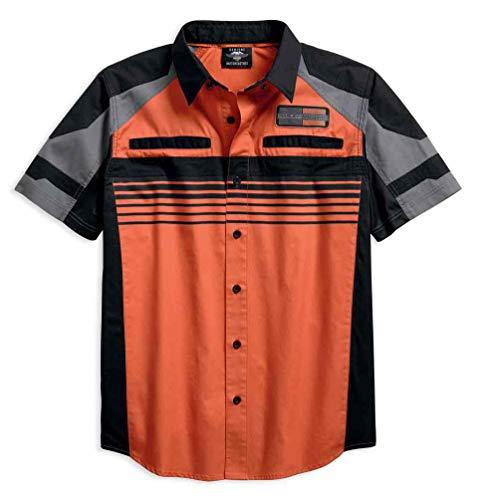 - Harley-Davidson Men's Performance Vented Chest Stripe Shirt 96116-18VM (XL) Orange