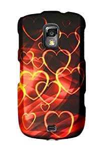 Graphic Rubberized Shield Hard Case for Samsung R940 Galaxy S Lightray 4G - Gold Hearts (Package include a HandHelditems Sketch Stylus Pen)