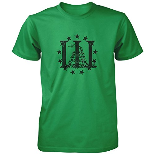 Vine Fresh Tees - Three Percenter Don't Tread On Me T-shirt - Adult 3X-Large, Kelly Green