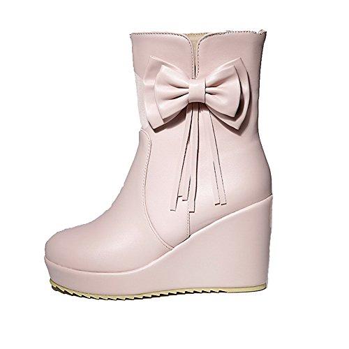 AllhqFashion Damen Weiches Material Ziehen auf Rund Zehe Hoher Absatz Niedrig-Spitze Stiefel Pink