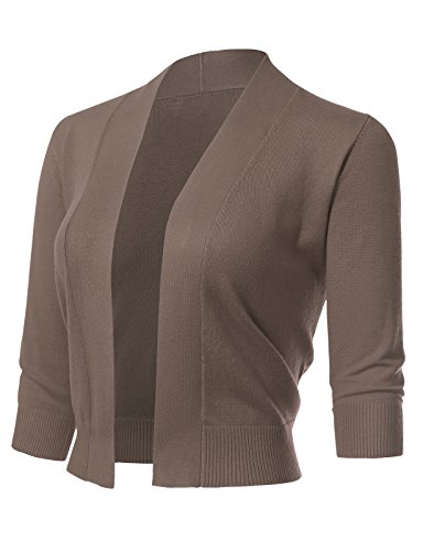 Women's Classic 3/4 Sleeve Open Front Cropped Cardigans (S-3XL) 1XL Camel ()