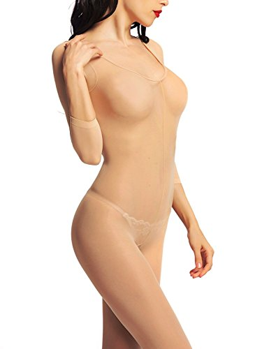 be5317fe2bc Amoretu Womens Opaque Sleeves Scoop Neck Bodystocking