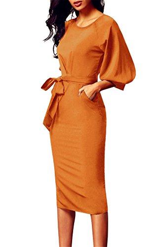 Aimur Womens Professional Dresses Bell Sleeves Bodycon Vintage Empire Waist Split
