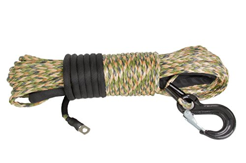 "Price comparison product image Camouflage 3 / 16"" x 50' (5mm x 15.25m) DynaTech 1278 Winch Rope with G80 Forged Hook 6, 380 lb Breaking Strength"