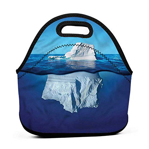 (Convenient Lunch Box Tote Bag Nature,Siberia Cold Snow North Pole,ice pack bag for lunch box)