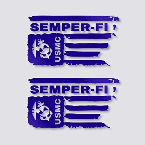 Distressed USMC Sticker United States Marine Decal Corps Flag US Semper FI Bumper Vinyl Car Truck Window Laptop Army ()