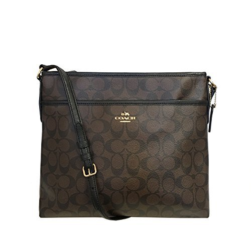 Coach Signature Coated Canvas File Bag in Brown & Black by Coach