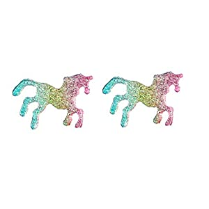 Cute Lucky Acrylic Unicorn Horse Animal Lover Stud Earrings for Girl and Women Children