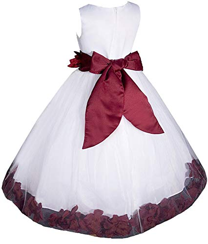 0f65e5edd6c AMJ Dresses Inc Big-Girls' White/Burgundy Flower Girl Dress S1008 Sz ...