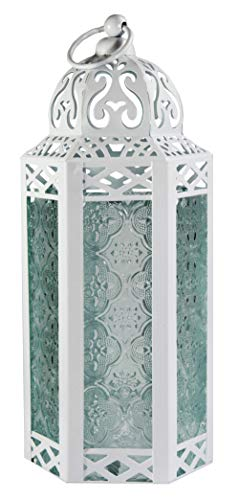 Vela Lanterns Moroccan Style Candle Lantern, Medium, Clear Glass, White ()