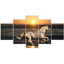 Canvas Animal Painting Wall Art Prints Sunset Running Horse Sea view Pictures for Living room Home Decor 5 Pieces Artwork New Year Gifts Set and Framed Ready to Hang for Office (60''W x 32''H)