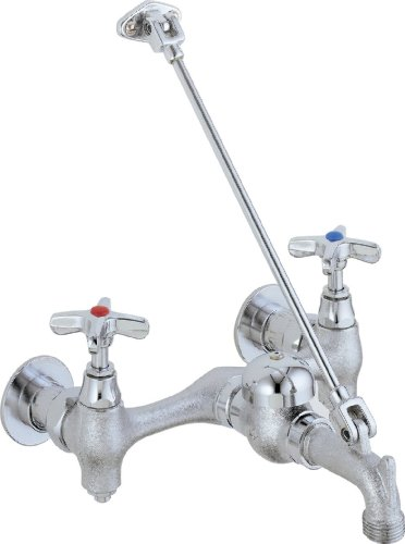 Delta Faucet 28T9 28T, Two Handle 8-Inch Wall-Mount Service Sink Faucet, Chrome (Chrome Two Handle Sink)