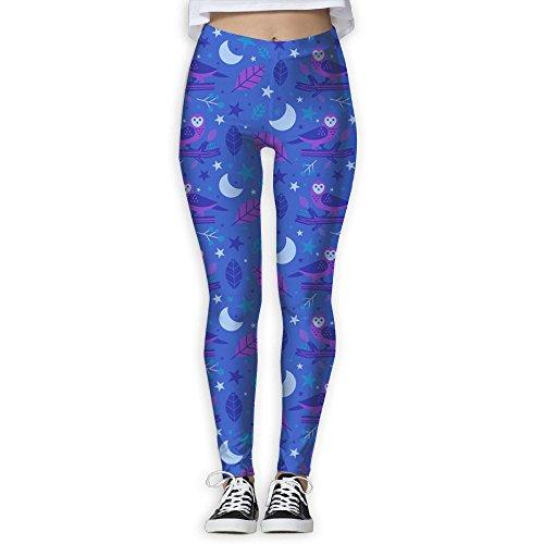 Womens Leggings Owl Pattern Popular Workout Yoga Pants Full Length 3D Printing Gym Capris - Casuarina Stores