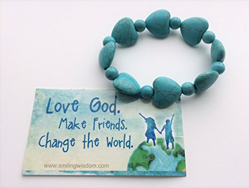 Smiling Wisdom - Turquoise Heart Stretch Bracelet Gift Set - Love God, Make Friends, Change the World Card - Fashion Turquoise Jewelry for Girl, Teen, Woman