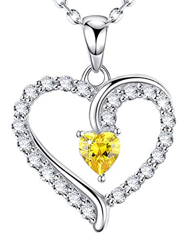 ❤️ You are The Only One ❤️ Love Heart Jewelry Gifts for Women Christmas LC Yellow Citrine Pendant Necklace Anniversary Birthday Gifts for Her for Wife Daughter Grandma Girlfriend Sterling ()