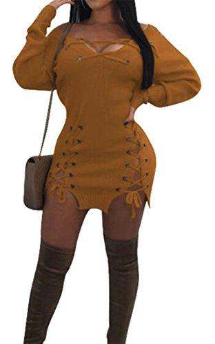 Cromoncent Femmes En Dentelle Extensible Profond Col V En Mini Moulante Taille Haute Robe Jaune
