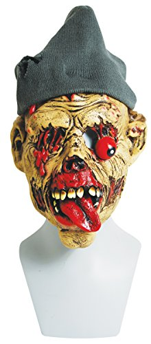 [The Gothic Collection Zombie Hobo Halloween Mask with Knitted Hat] (Halloween Hobo Costume)