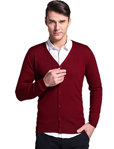 Xi ouli Wool Overs Men's Lambswool V Neck Cardigan 679901(XXL,Red wine) - Lambswool Argyle Crewneck Sweater