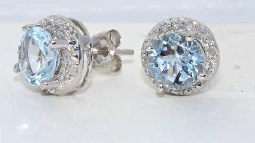 Genuine Aquamarine Round Diamond Stud Earrings .925 Sterling Silver Rhodium Finish