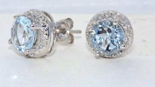 Genuine Aquamarine Round Diamond Stud Earrings .925 Sterling Silver Rhodium Finish