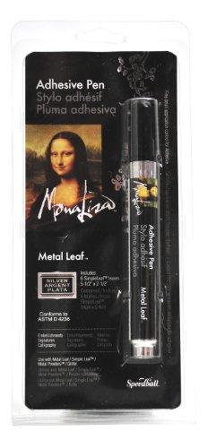 Speedball Mona Lisa Adhesive Pen and Silver Simple Leaf Set - Leaf Paint Pen