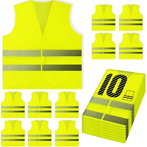 PeerBasics, 10 Pack, Yellow Reflective High Visibility Safety Vest, Hi Vis Silver Strip, Men & Women, Work, Cycling, Runner, Surveyor, Volunteer, Crossing Guard, Road, Construction, Neon (Mesh, 10)