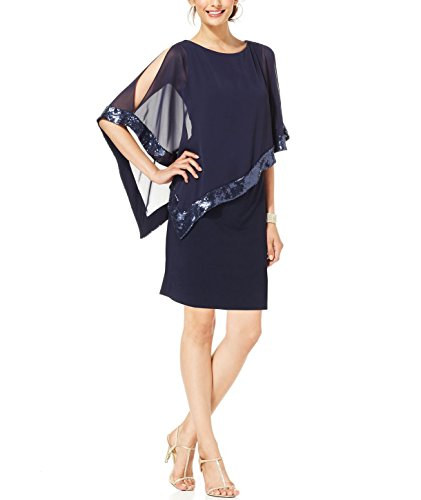RM Richards Women's Draped Chiffon Sleeve Overlay Sequin Party Dress - Royal Blue (12, NAVY) (Chiffon Overlay Dress)